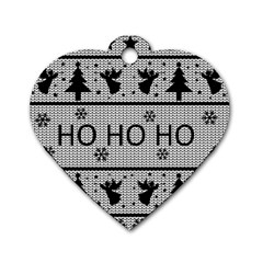 Ugly Christmas Sweater Dog Tag Heart (one Side) by Valentinaart