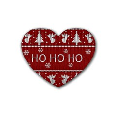 Ugly Christmas Sweater Rubber Coaster (heart)  by Valentinaart