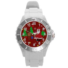 Ugly Christmas Sweater Round Plastic Sport Watch (l) by Valentinaart