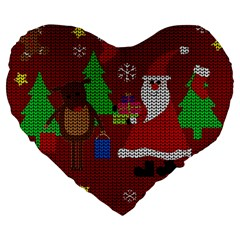 Ugly Christmas Sweater Large 19  Premium Heart Shape Cushions by Valentinaart