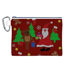 Ugly Christmas Sweater Canvas Cosmetic Bag (l) by Valentinaart
