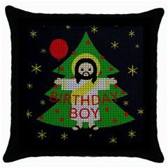 Jesus   Christmas Throw Pillow Case (black) by Valentinaart