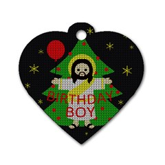 Jesus   Christmas Dog Tag Heart (one Side) by Valentinaart