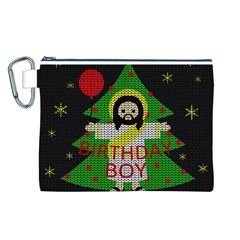 Jesus   Christmas Canvas Cosmetic Bag (l) by Valentinaart