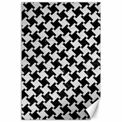 Houndstooth2 Black Marble & White Leather Canvas 24  X 36  by trendistuff