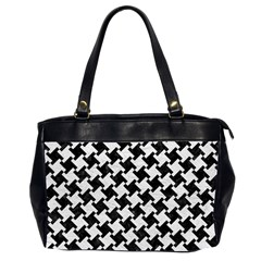 Houndstooth2 Black Marble & White Leather Office Handbags (2 Sides)