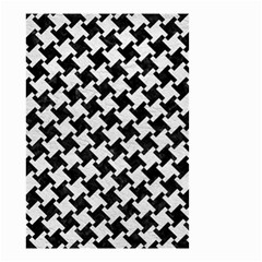 Houndstooth2 Black Marble & White Leather Small Garden Flag (two Sides) by trendistuff