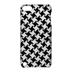 Houndstooth2 Black Marble & White Leather Apple Ipod Touch 5 Hardshell Case With Stand