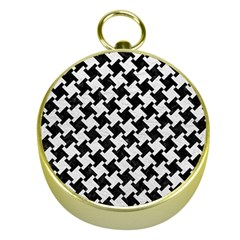 Houndstooth2 Black Marble & White Leather Gold Compasses by trendistuff