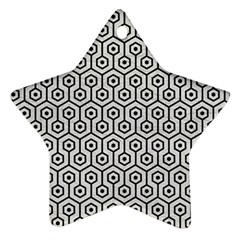 Hexagon1 Black Marble & White Leather Star Ornament (two Sides) by trendistuff