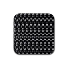Hexagon1 Black Marble & White Leather (r) Rubber Square Coaster (4 Pack)  by trendistuff