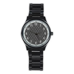 Hexagon1 Black Marble & White Leather (r) Stainless Steel Round Watch by trendistuff