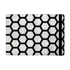Hexagon2 Black Marble & White Leather Apple Ipad Mini Flip Case by trendistuff