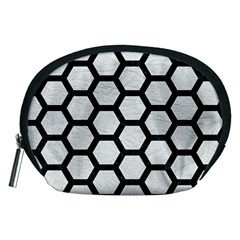 Hexagon2 Black Marble & White Leather Accessory Pouches (medium)  by trendistuff