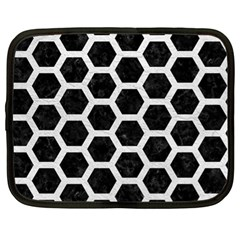 Hexagon2 Black Marble & White Leather (r) Netbook Case (xl)  by trendistuff