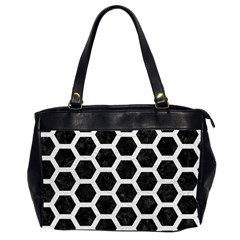 Hexagon2 Black Marble & White Leather (r) Office Handbags (2 Sides)