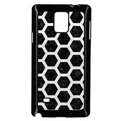Hexagon2 Black Marble & White Leather (r) Samsung Galaxy Note 4 Case (black)
