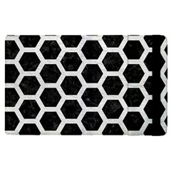 Hexagon2 Black Marble & White Leather (r) Apple Ipad Pro 9 7   Flip Case
