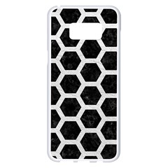 Hexagon2 Black Marble & White Leather (r) Samsung Galaxy S8 Plus White Seamless Case