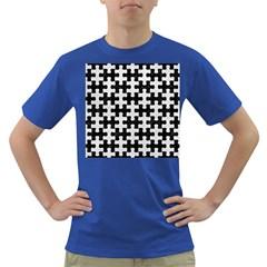Puzzle1 Black Marble & White Leather Dark T Shirt