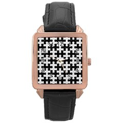 Puzzle1 Black Marble & White Leather Rose Gold Leather Watch  by trendistuff