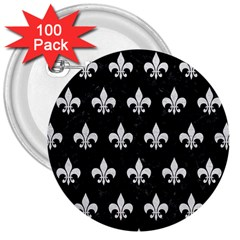 Royal1 Black Marble & White Leather 3  Buttons (100 Pack)  by trendistuff