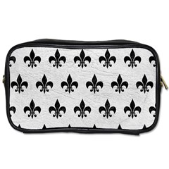 Royal1 Black Marble & White Leather (r) Toiletries Bags 2 Side by trendistuff