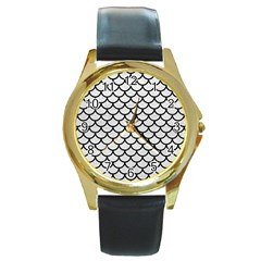 Scales1 Black Marble & White Leather Round Gold Metal Watch by trendistuff