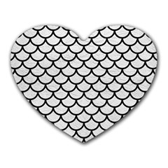 Scales1 Black Marble & White Leather Heart Mousepads