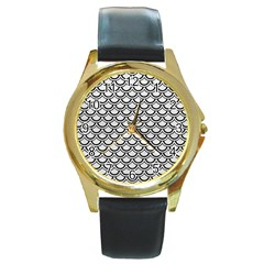 Scales2 Black Marble & White Leather Round Gold Metal Watch by trendistuff