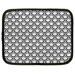 Scales2 Black Marble & White Leather Netbook Case (xl)  by trendistuff