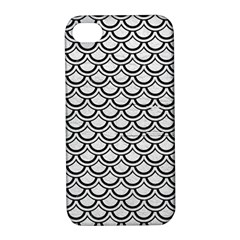 Scales2 Black Marble & White Leather Apple Iphone 4/4s Hardshell Case With Stand by trendistuff