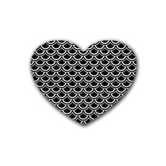 Scales2 Black Marble & White Leather (r) Heart Coaster (4 Pack)  by trendistuff