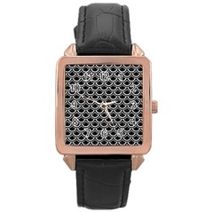 Scales2 Black Marble & White Leather (r) Rose Gold Leather Watch  by trendistuff