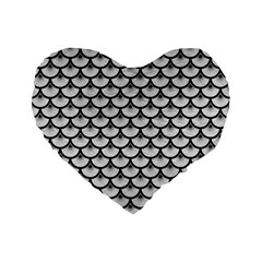 Scales3 Black Marble & White Leather Standard 16  Premium Flano Heart Shape Cushions by trendistuff
