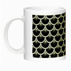 Scales3 Black Marble & White Leather (r) Night Luminous Mugs by trendistuff