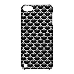 Scales3 Black Marble & White Leather (r) Apple Ipod Touch 5 Hardshell Case With Stand