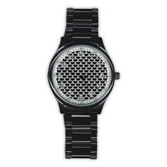 Scales3 Black Marble & White Leather (r) Stainless Steel Round Watch by trendistuff