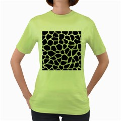 Skin1 Black Marble & White Leather Women s Green T Shirt by trendistuff