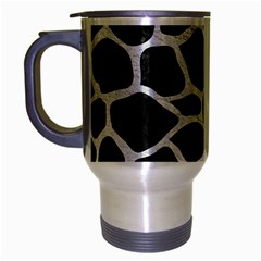 Skin1 Black Marble & White Leather Travel Mug (silver Gray) by trendistuff