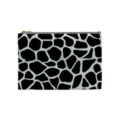 Skin1 Black Marble & White Leather Cosmetic Bag (medium)  by trendistuff