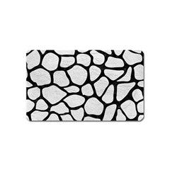 Skin1 Black Marble & White Leather (r) Magnet (name Card) by trendistuff