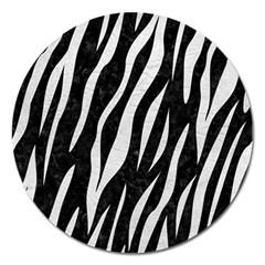 Skin3 Black Marble & White Leather (r) Magnet 5  (round) by trendistuff