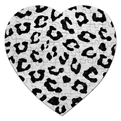 Skin5 Black Marble & White Leather (r) Jigsaw Puzzle (heart) by trendistuff