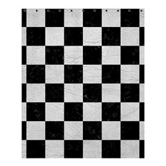 Square1 Black Marble & White Leather Shower Curtain 60  X 72  (medium)  by trendistuff