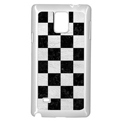 Square1 Black Marble & White Leather Samsung Galaxy Note 4 Case (white)