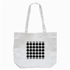 Square2 Black Marble & White Leather Tote Bag (white) by trendistuff