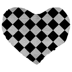 Square2 Black Marble & White Leather Large 19  Premium Flano Heart Shape Cushions by trendistuff