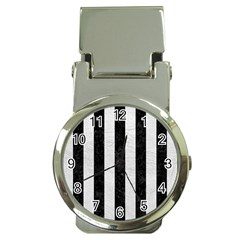 Stripes1 Black Marble & White Leather Money Clip Watches by trendistuff