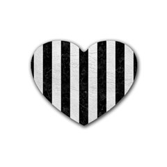 Stripes1 Black Marble & White Leather Heart Coaster (4 Pack)